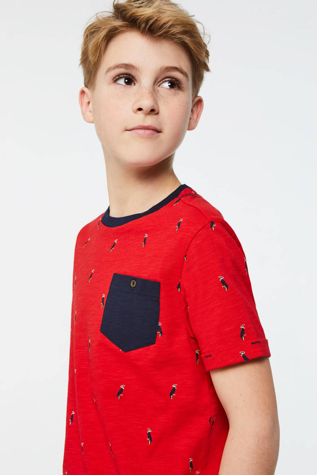 WE Fashion T-shirt met all over print rood/donkerblauw, Rood/donkerblauw