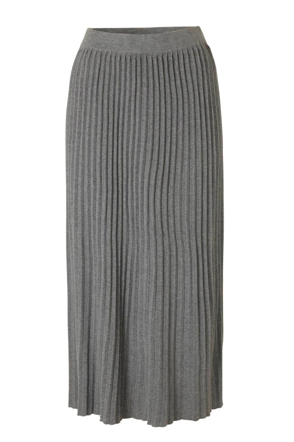 C&A fijngebreide plissé rok grijs, Grijs