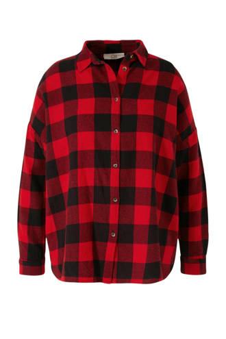 XL Clockhouse geruite flanellen blouse rood/zwart