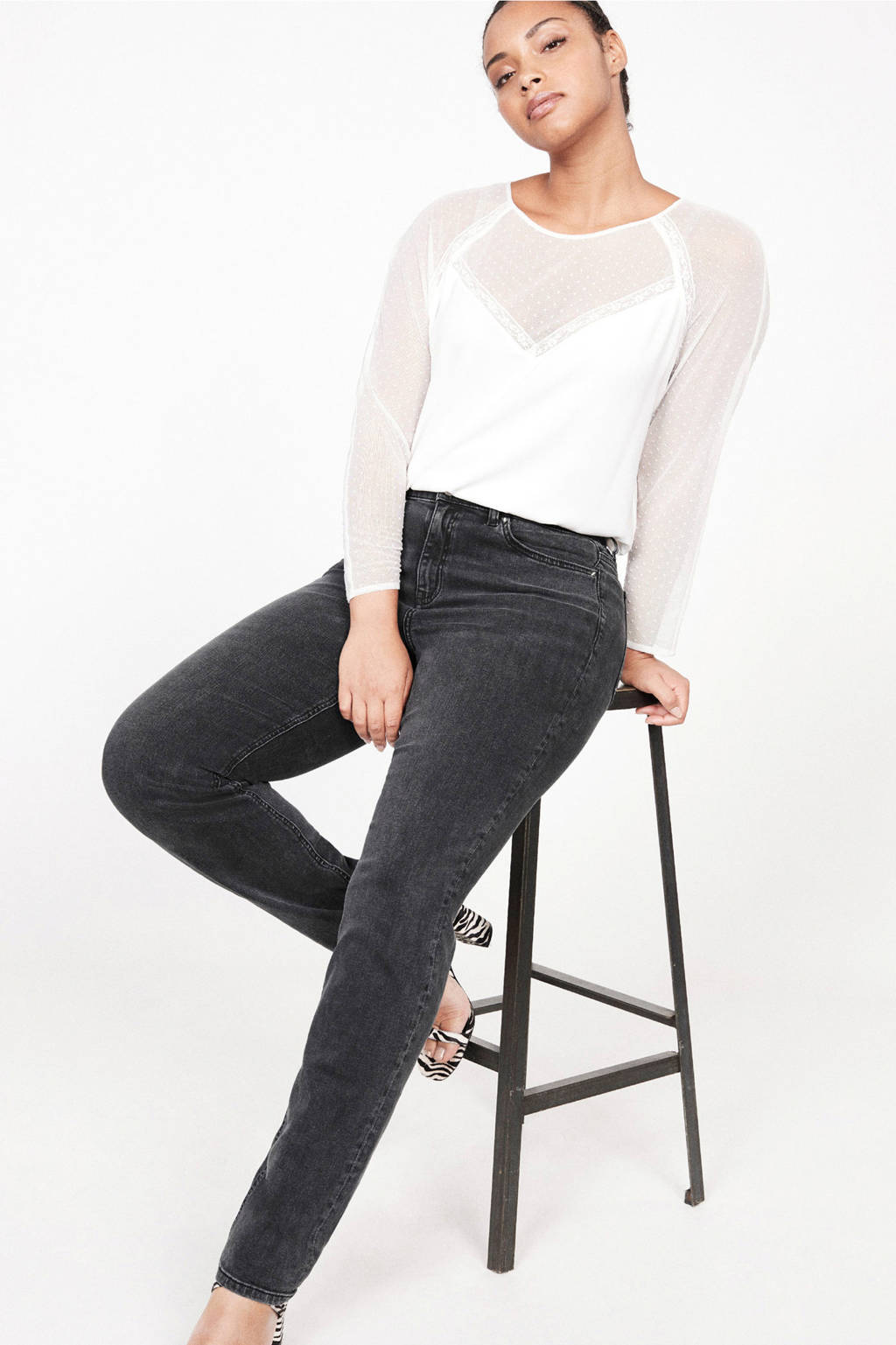 Violeta by Mango slim fit jeans grijs, Grijs