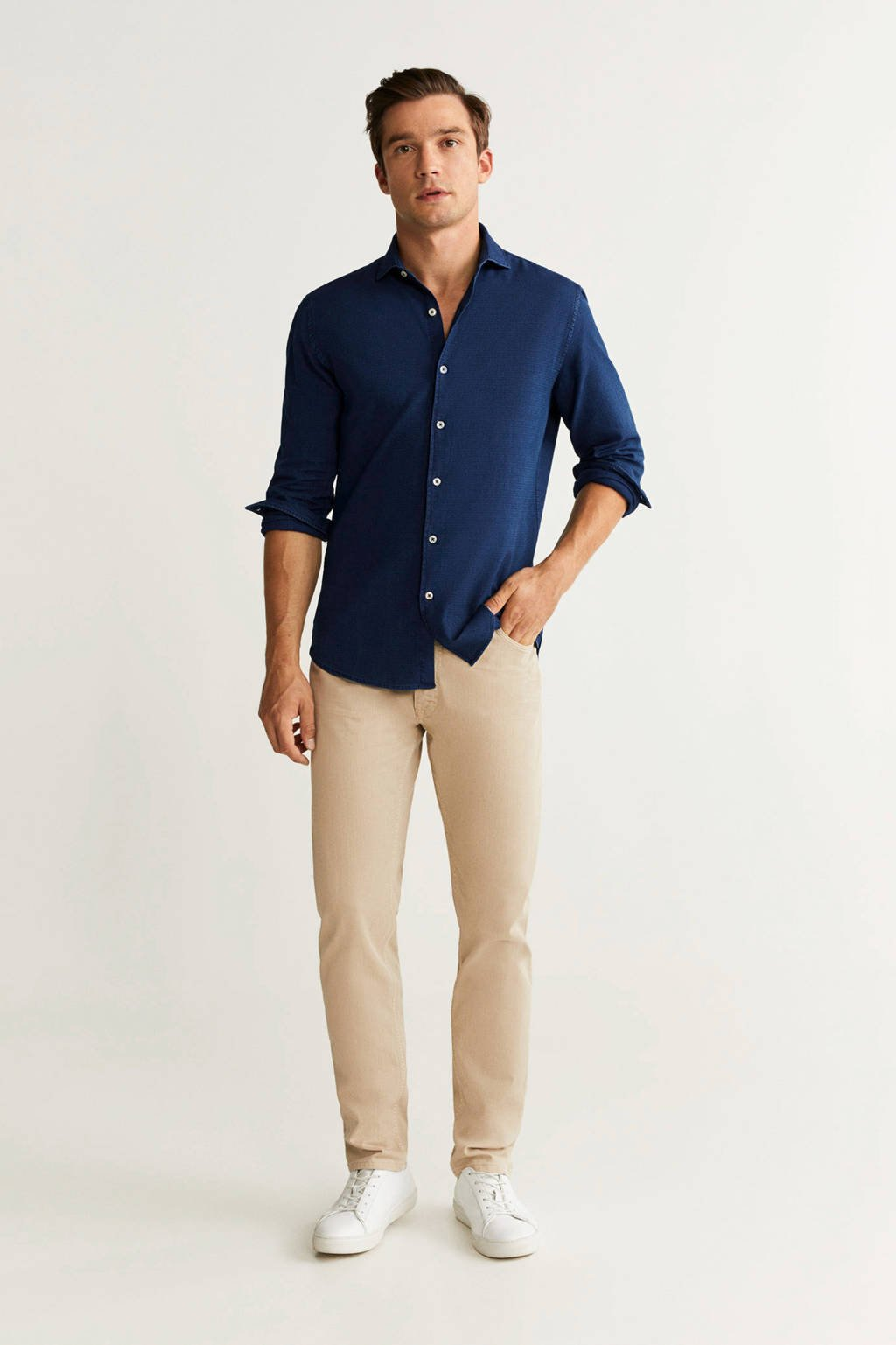 Mango Man slim fit overhemd donkerblauw, Donkerblauw