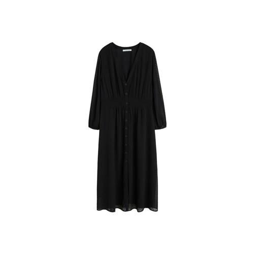 Violeta by Mango semi transparante blousejurk met stippen zwart