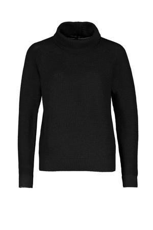 gebreide wollen trui met col zwart