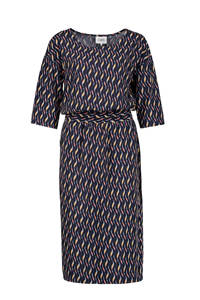 CKS jurk met all over print en ceintuur donkerblauw multi, Donkerblauw multi