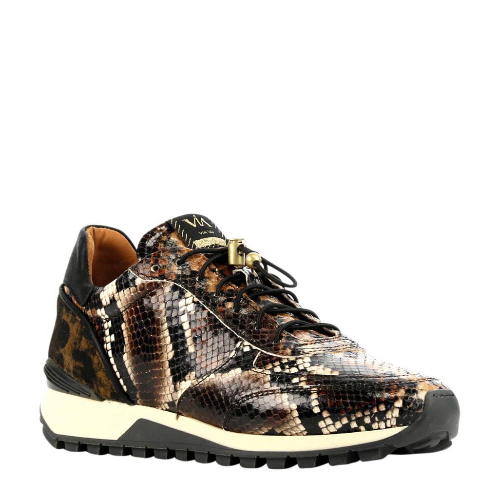 Via Vai 5309012  leren sneakers slangenprint bruin, Bruin