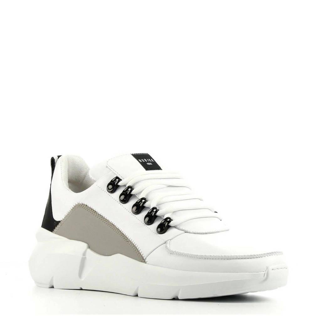 Nubikk Elvin Royal  leren sneakers wit/zwart, Wit/zwart/grijs