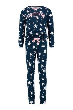 pyjama met sterren en tekst donkerblauw/wit