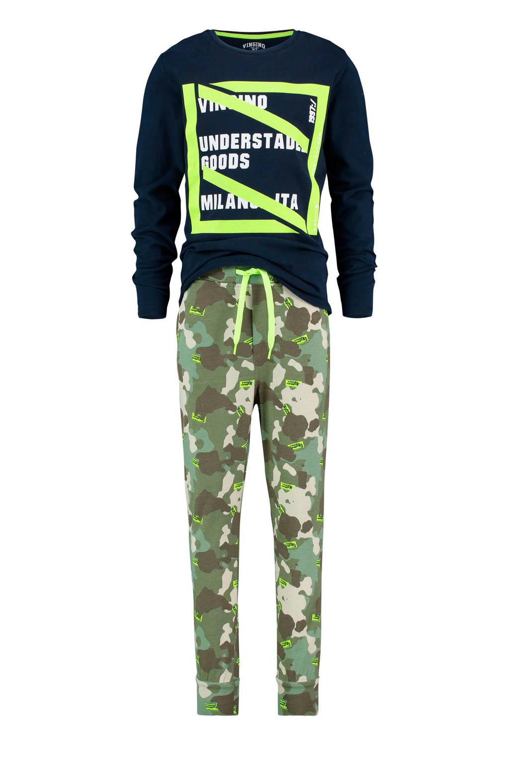 Vingino   pyjama met camouflage dessin en print donkerblauw/groen, Donkerblauw/groen