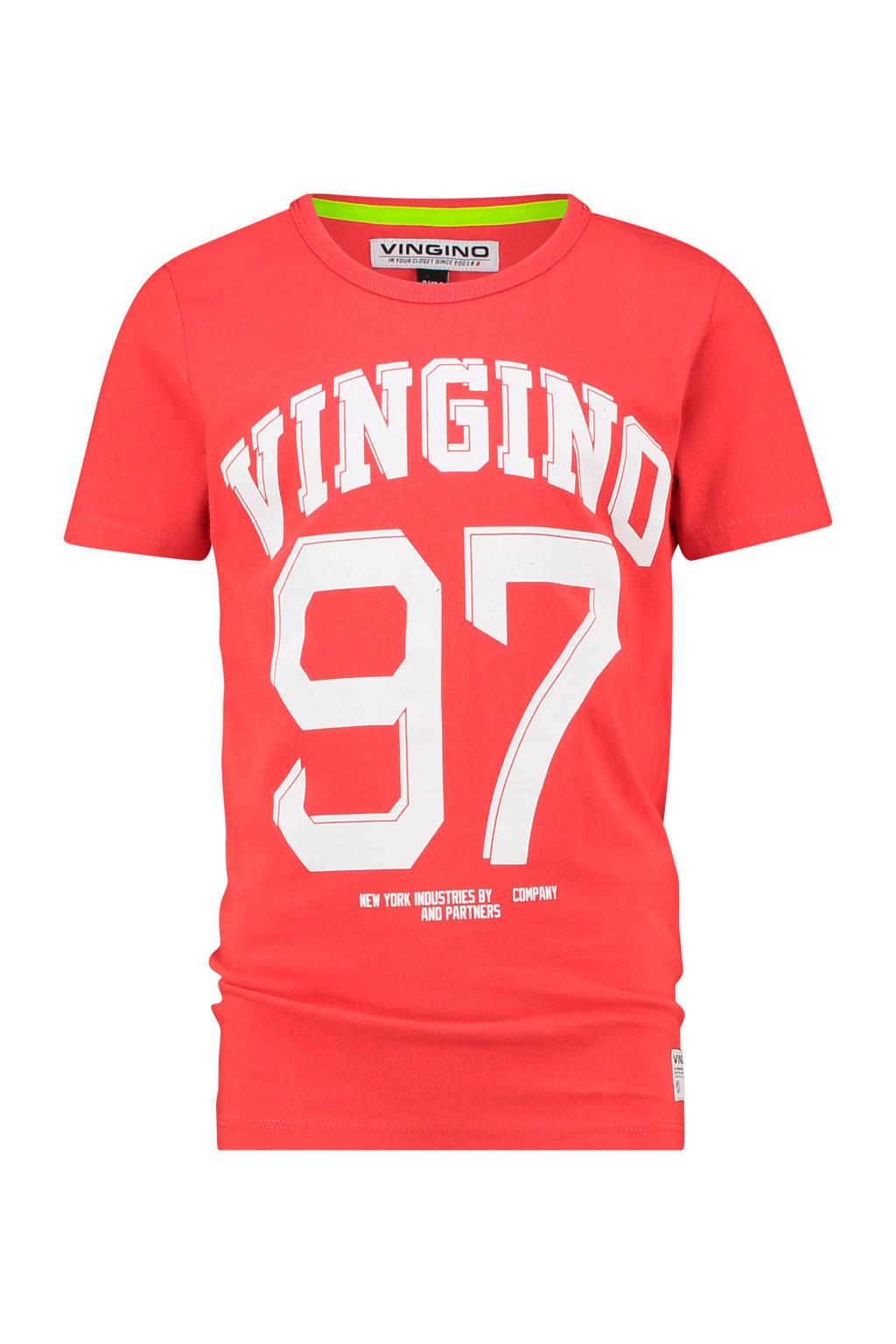 Vingino T-shirt Hope met logo warmrood, Warmrood