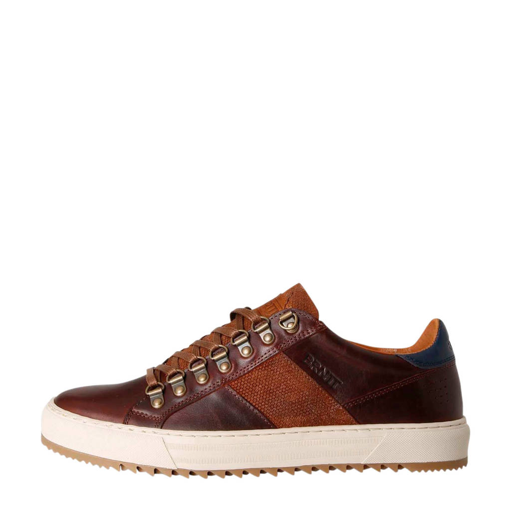 Brunotti Carcavelos Low  leren sneakers bruin, Bruin