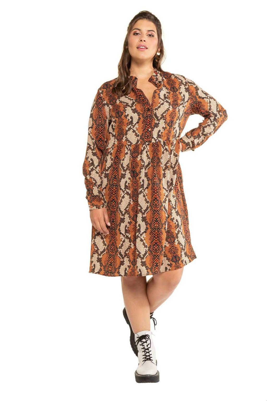 Studio Untold jurk met slangenprint bruin, Bruin