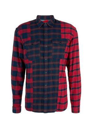 geruit regular fit overhemd rood/marine