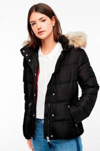 Q/S designed by gewatteerde winterjas zwart, Zwart