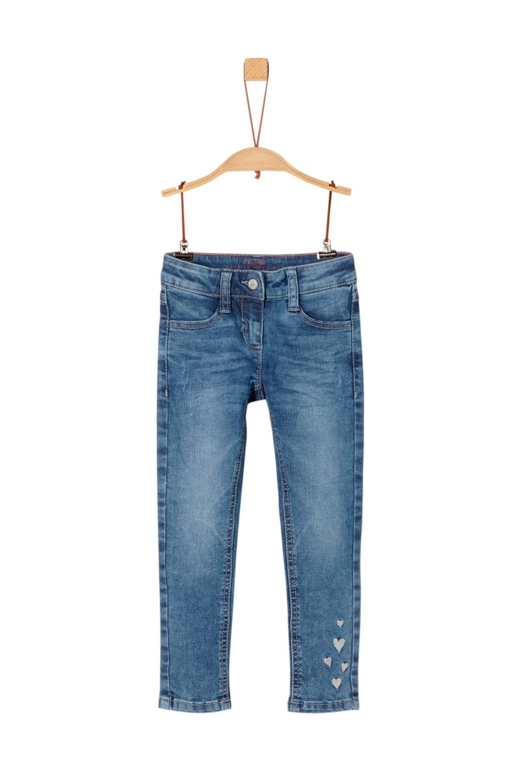 s.Oliver super skinny jeans met printopdruk en borduursels light denim, Light denim