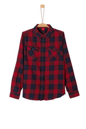 geruit overhemd donkerrood/donkerblauw/zwart