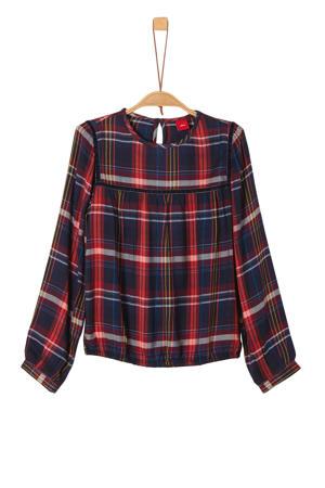 geruite blouse donkerblauw/donkerrood/wit/oker