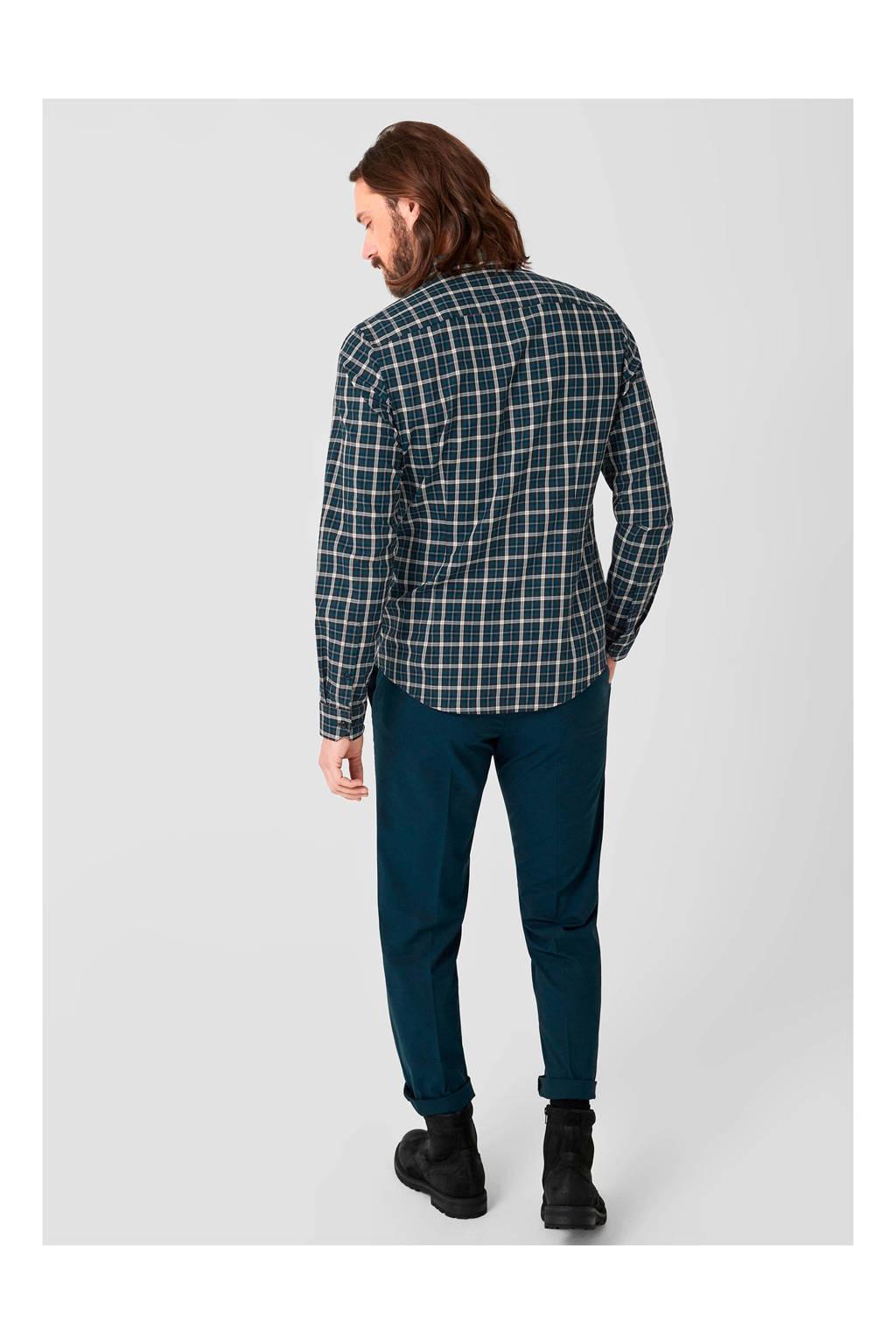 s.Oliver BLACK LABEL geruit slim fit overhemd blauw, Blauw