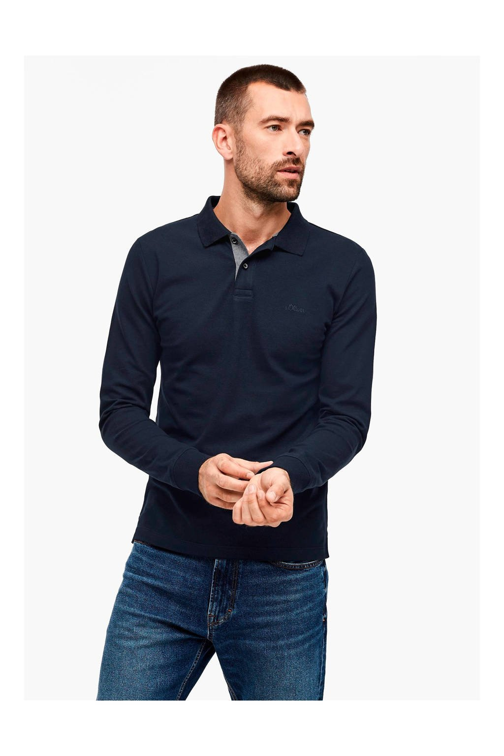 s.Oliver slim fit polo donkerblauw, Donkerblauw