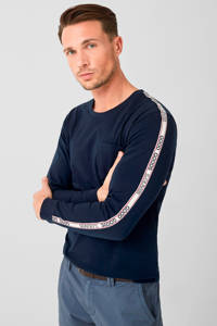 s.Oliver T-shirt met contrastbies marine, Marine