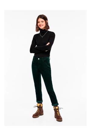 corduroy slim fit broek Catie donkergroen