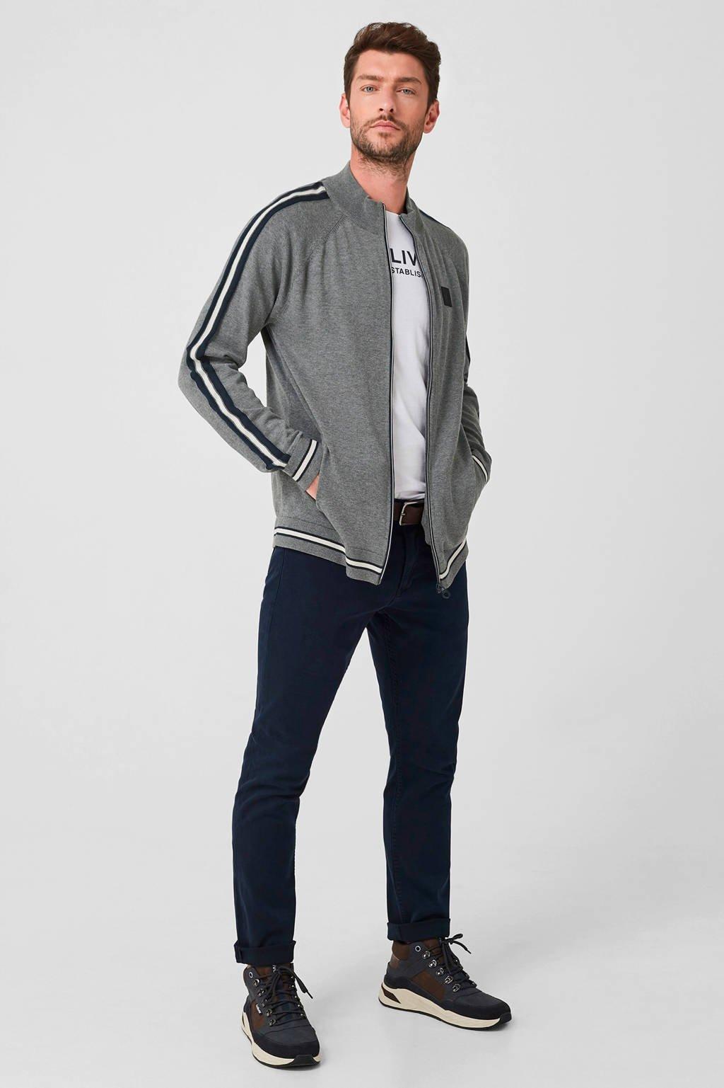 s.Oliver vest met contrastbies grijs/zwart/wit, Grijs/zwart/wit