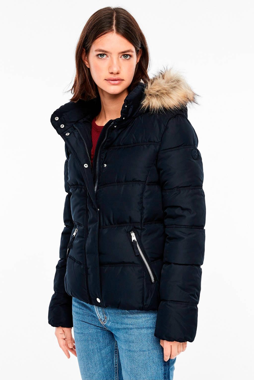 Q/S designed by gewatteerde winterjas donkerblauw, Donkerblauw