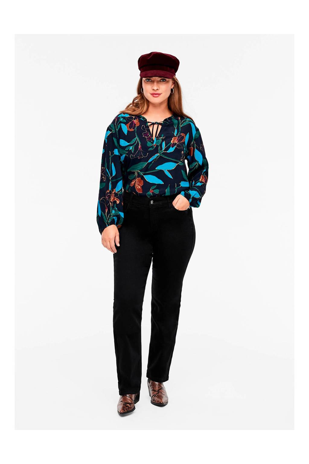 TRIANGLE high waist slim fit jeans zwart, Zwart