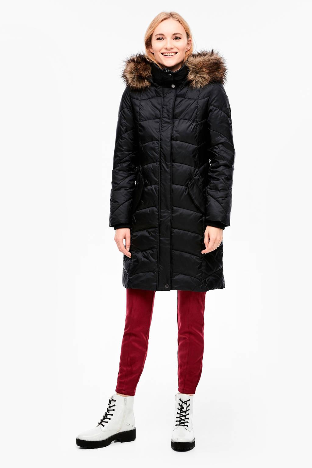 s.Oliver gewatteerde jas met ceintuur zwart, Zwart