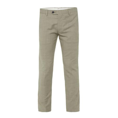 WE Fashion geruite slim fit pantalon met wol olivi