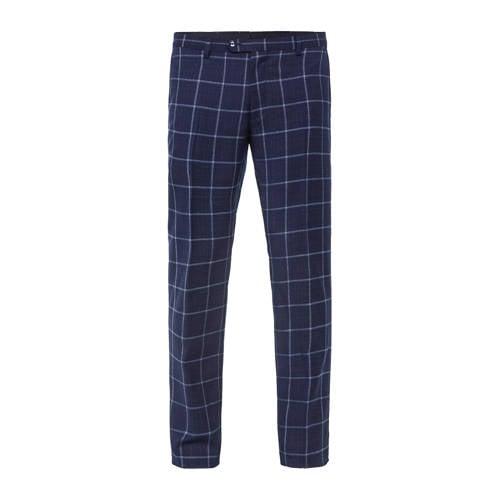 WE Fashion geruite slim fit pantalon met wol royal