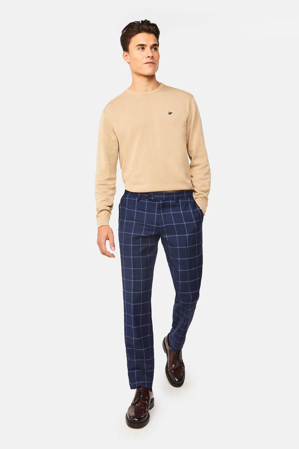 WE Fashion geruite slim fit pantalon met wol royal navy, Royal Navy