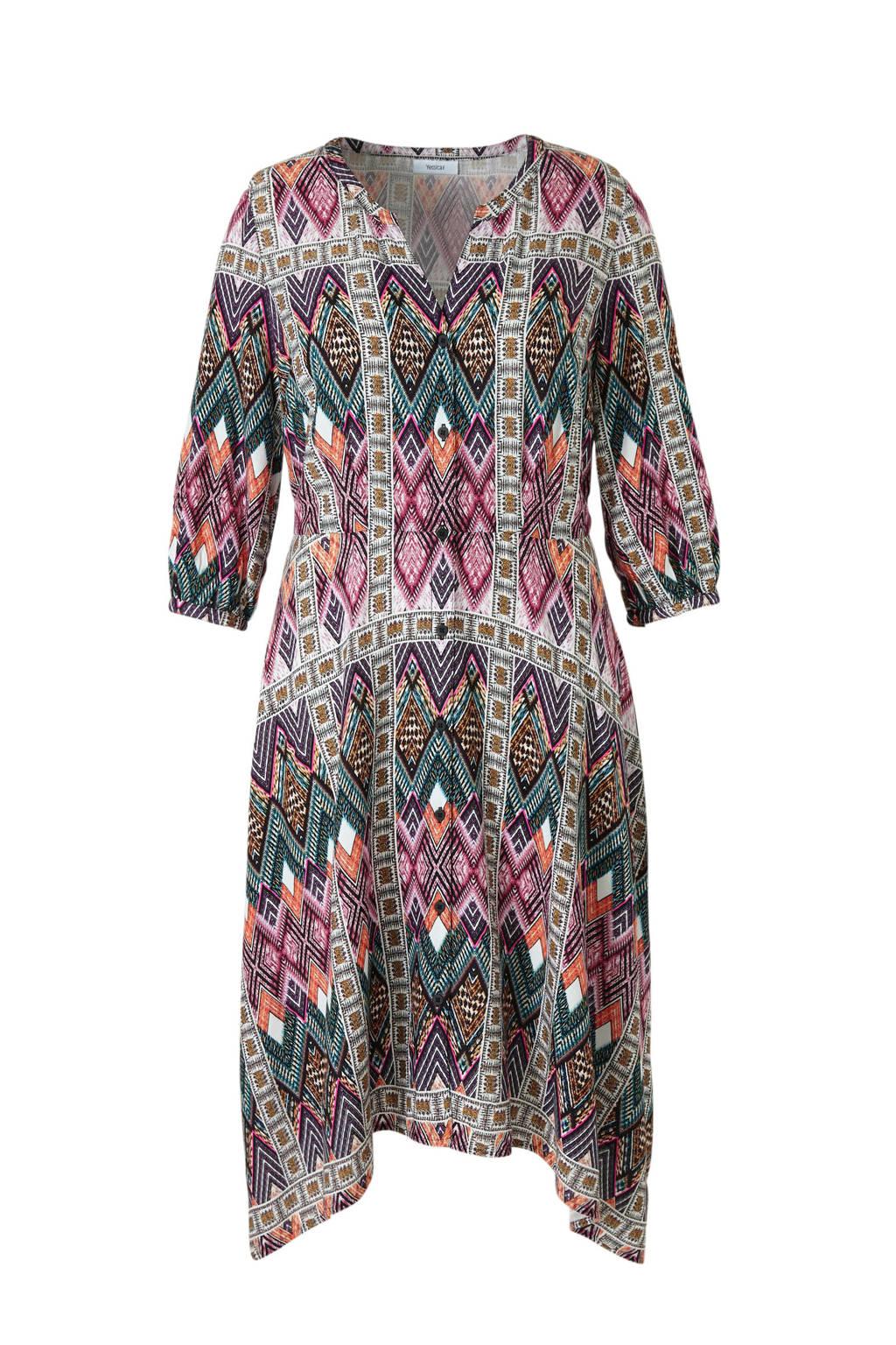 C&A XL Yessica jurk met grafische print roze/turquoise/oranje, Roze/turquoise/oranje