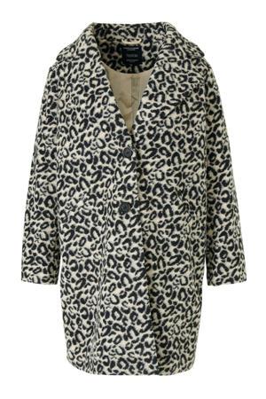 coat met wol en panterprint beige/zwart
