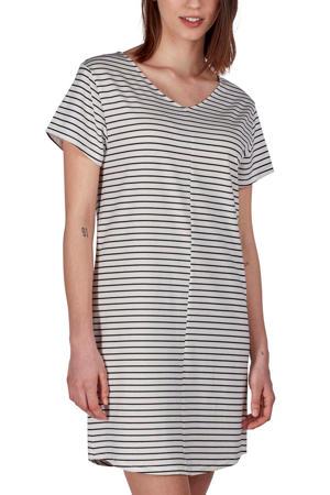 gestreept nachthemd wit/zwart