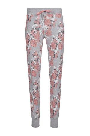 gebloemde pyjamabroek grijs/roze