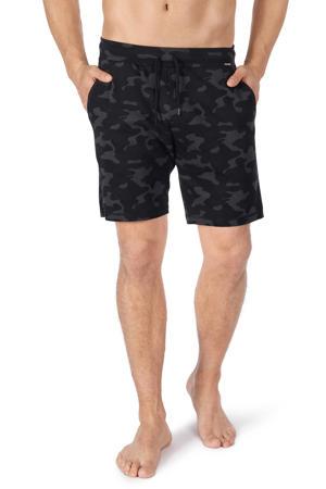 sweatshort met camouflageprint zwart/grijs