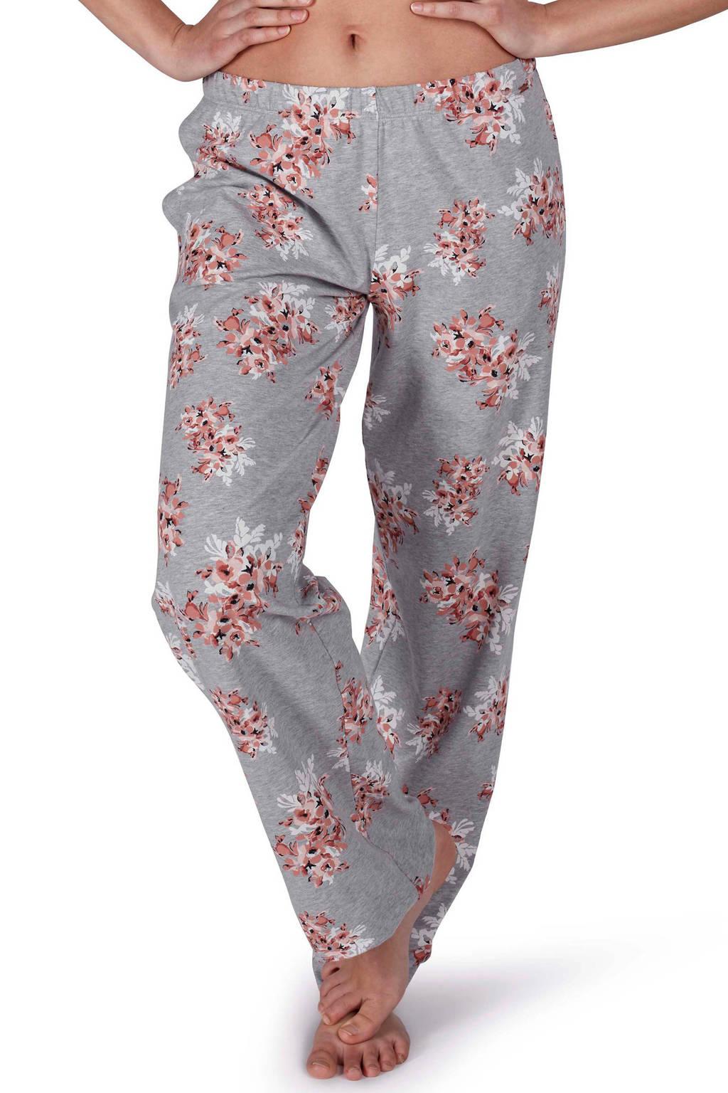 SKINY gebloemde pyjamabroek grijs/roze, Grijs/roze/wit/zwart