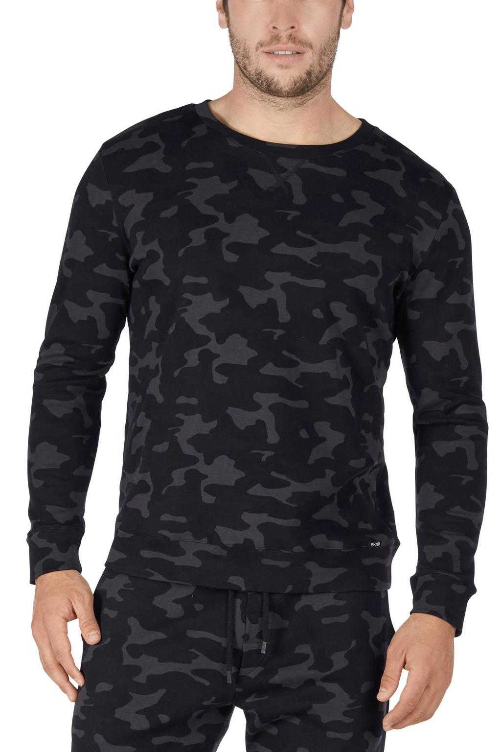 SKINY pyjamatop met camouflageprint zwart/grijs, Zwart/grijs