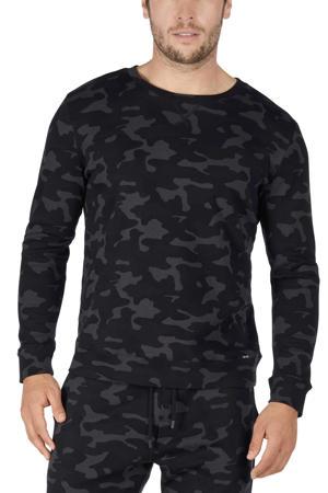 pyjamatop met camouflageprint zwart/grijs