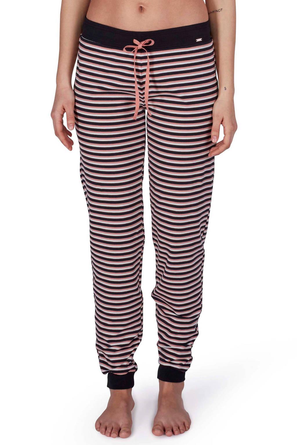 SKINY gestreepte pyjamabroek zwart/roze, Zwart/roze/wit