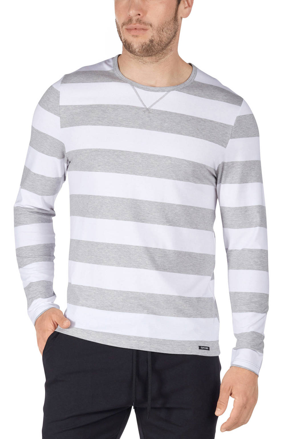 SKINY gestreepte pyjamatop grijs/wit, Grijs/wit