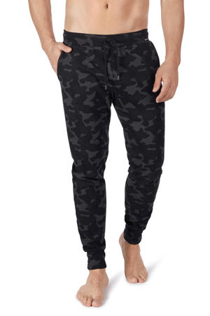 regular fit joggingbroek met camouflageprint zwart/grijs