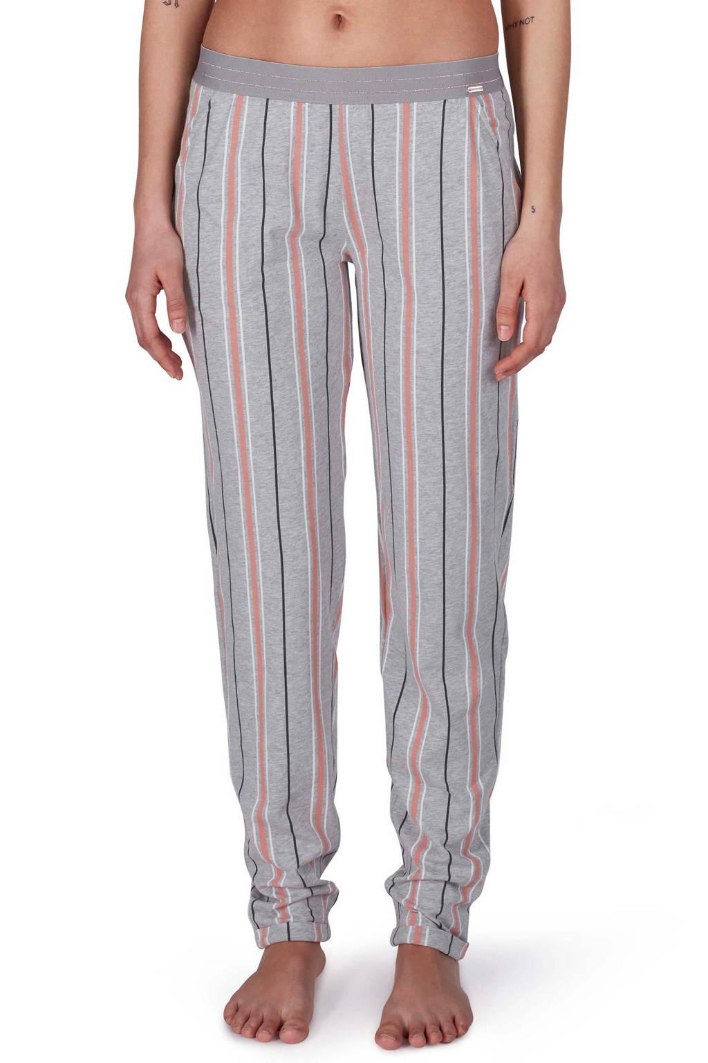 SKINY gestreepte pyjamabroek grijs/roze, Grijs/roze/wit/zwart
