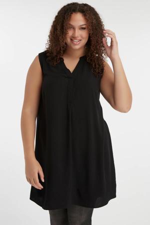 blouse met plooien zwart