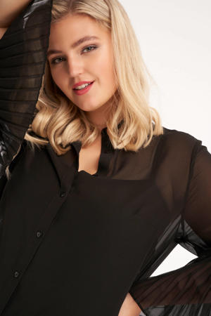 semi-transparante blouse met vleermuismouwen zwart