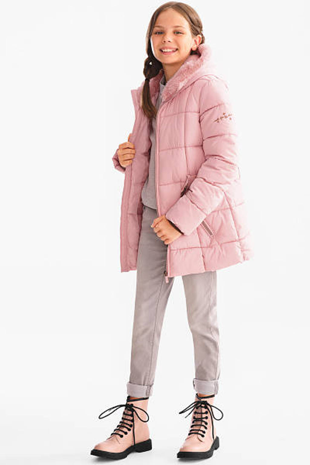 C&A Here & There winterjas roze, Lichtroze