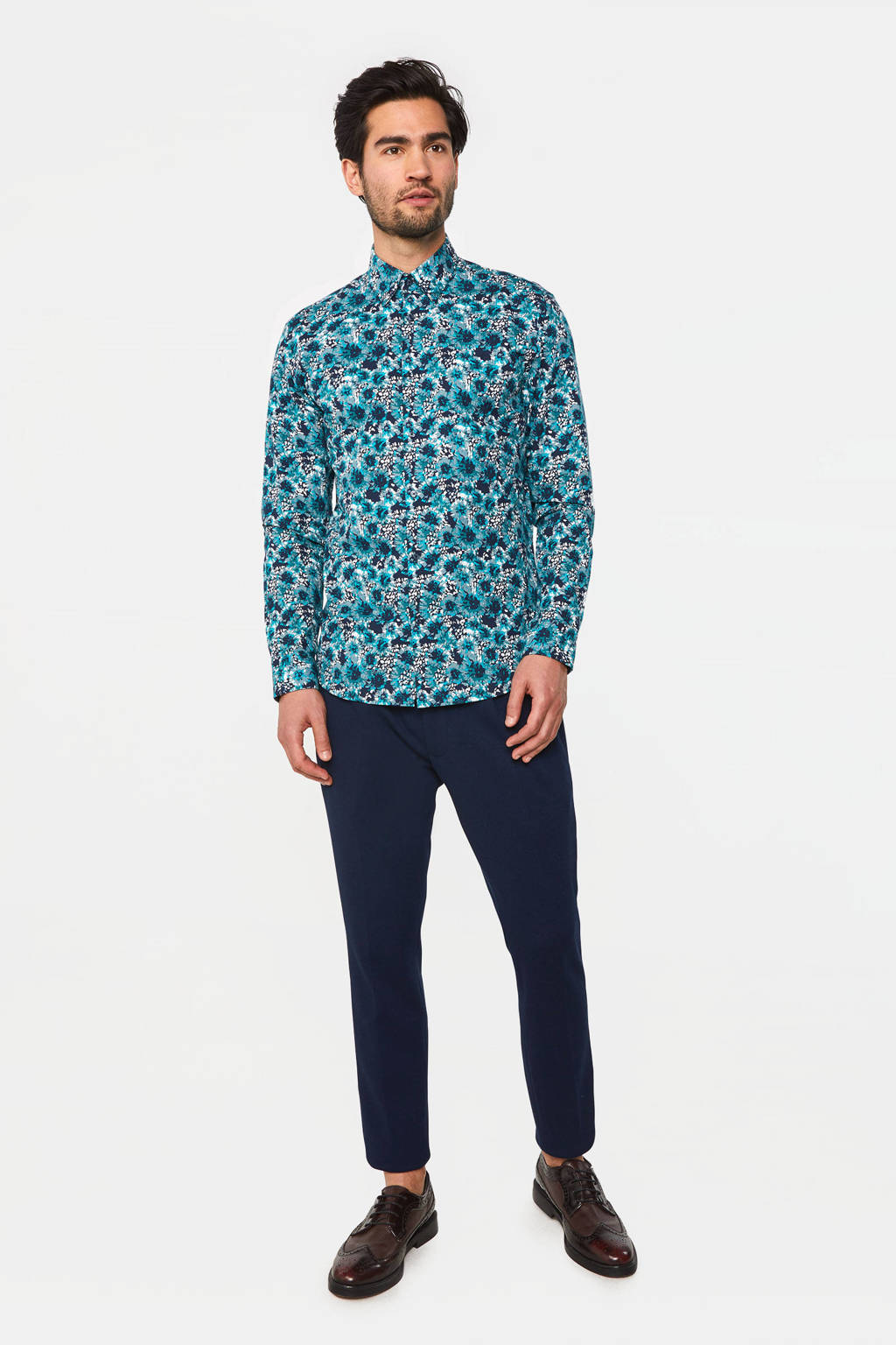 WE Fashion slim fit overhemd sea storm, Sea Storm