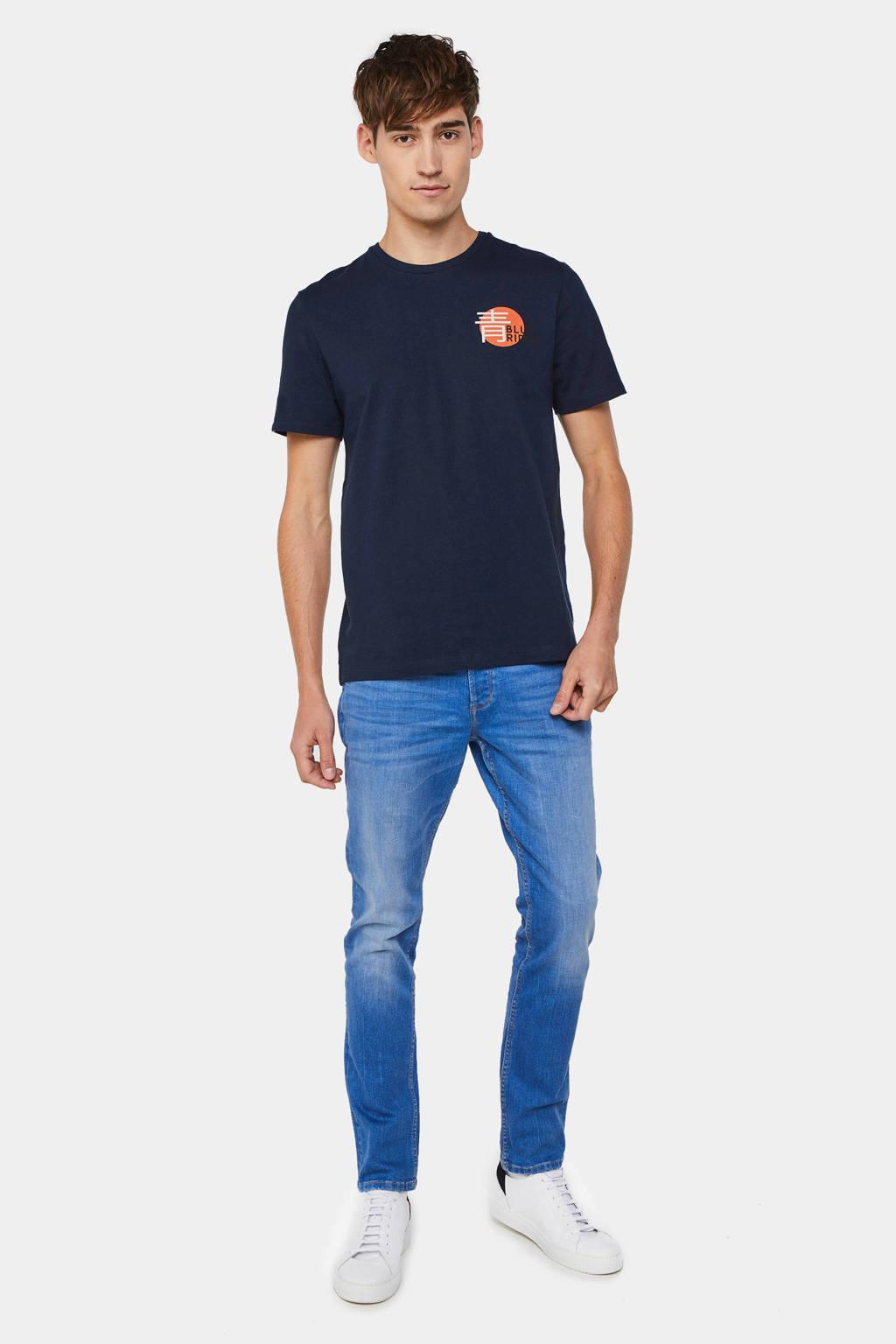 WE Fashion Blue Ridge Regular fit T-shirt met printopdruk, Royal Navy