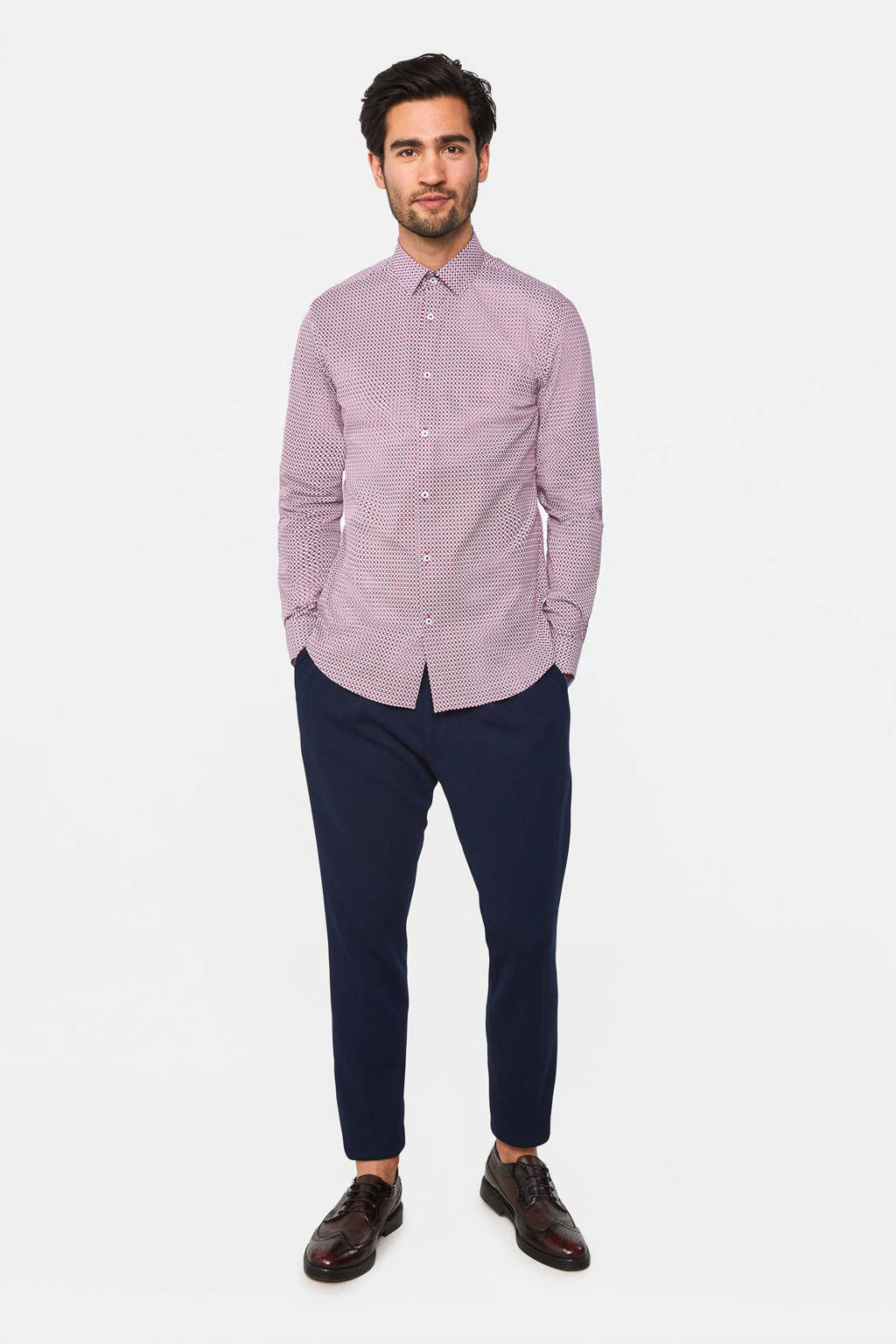 WE Fashion slim fit overhemd rasberry, Rasberry