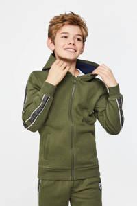 WE Fashion vest met contrastbies donkergroen, Donkergroen
